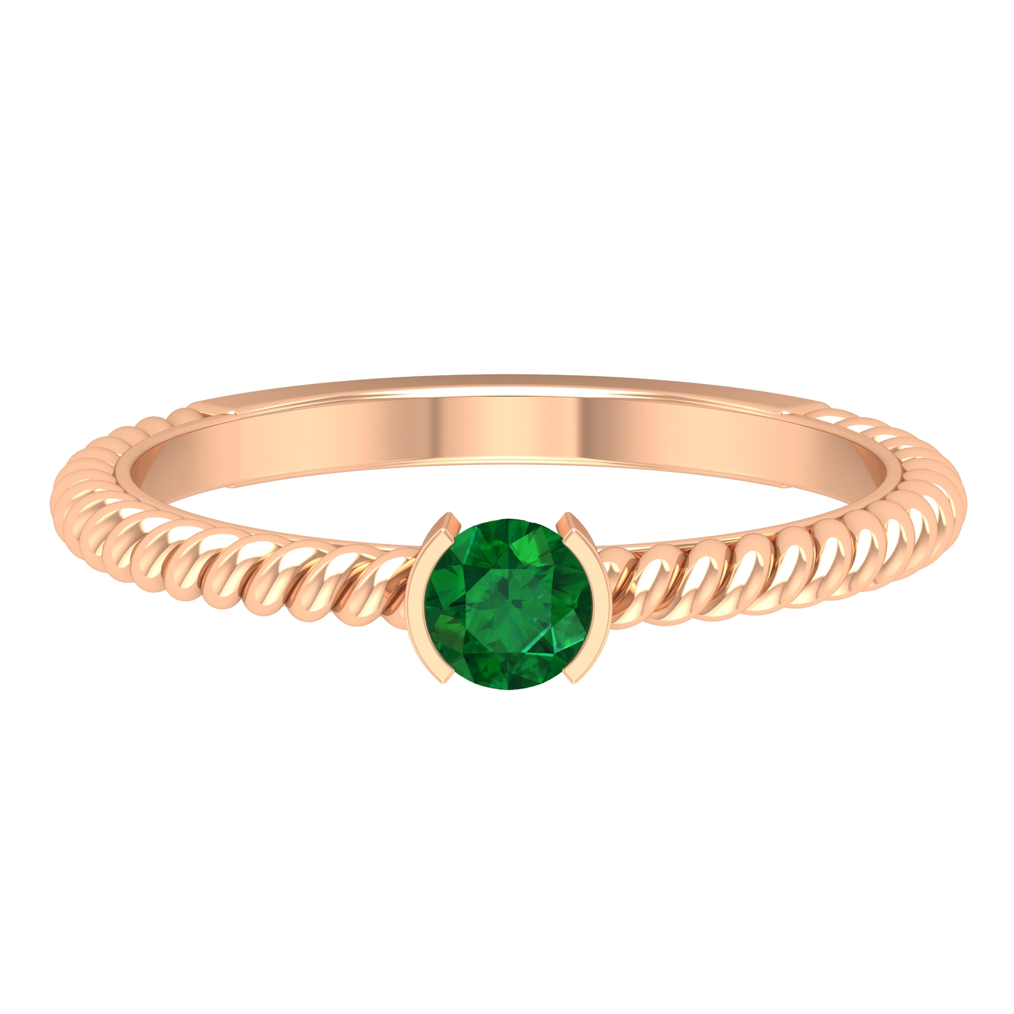 May Birthstone 4 MM Round Cut Emerald Solitaire Ring in Half Bezel Setting with Twisted Rope Frame