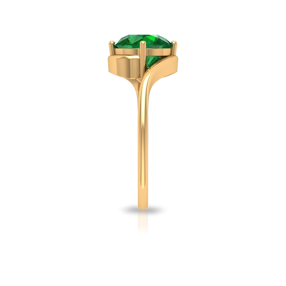 May Birthstone 8 MM Emerald Solitaire Ring in 4 Prong Diagonal Setting with Bypass Shank