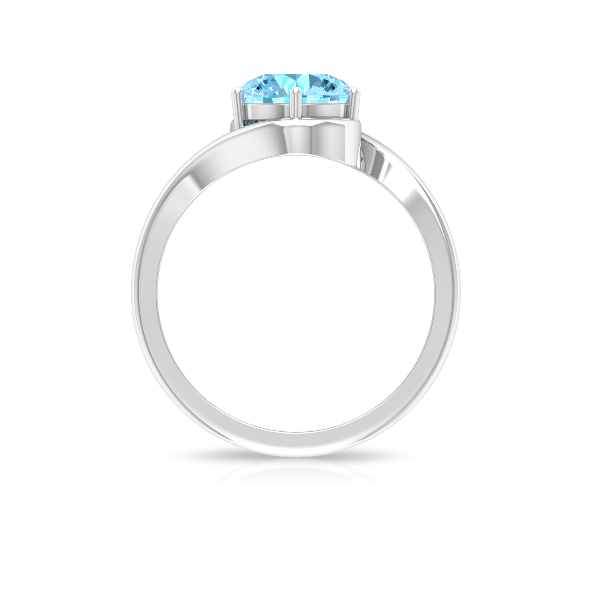 8 MM Round Cut Aquamarine Solitaire Six Prong Set Ring with Bypass Shank