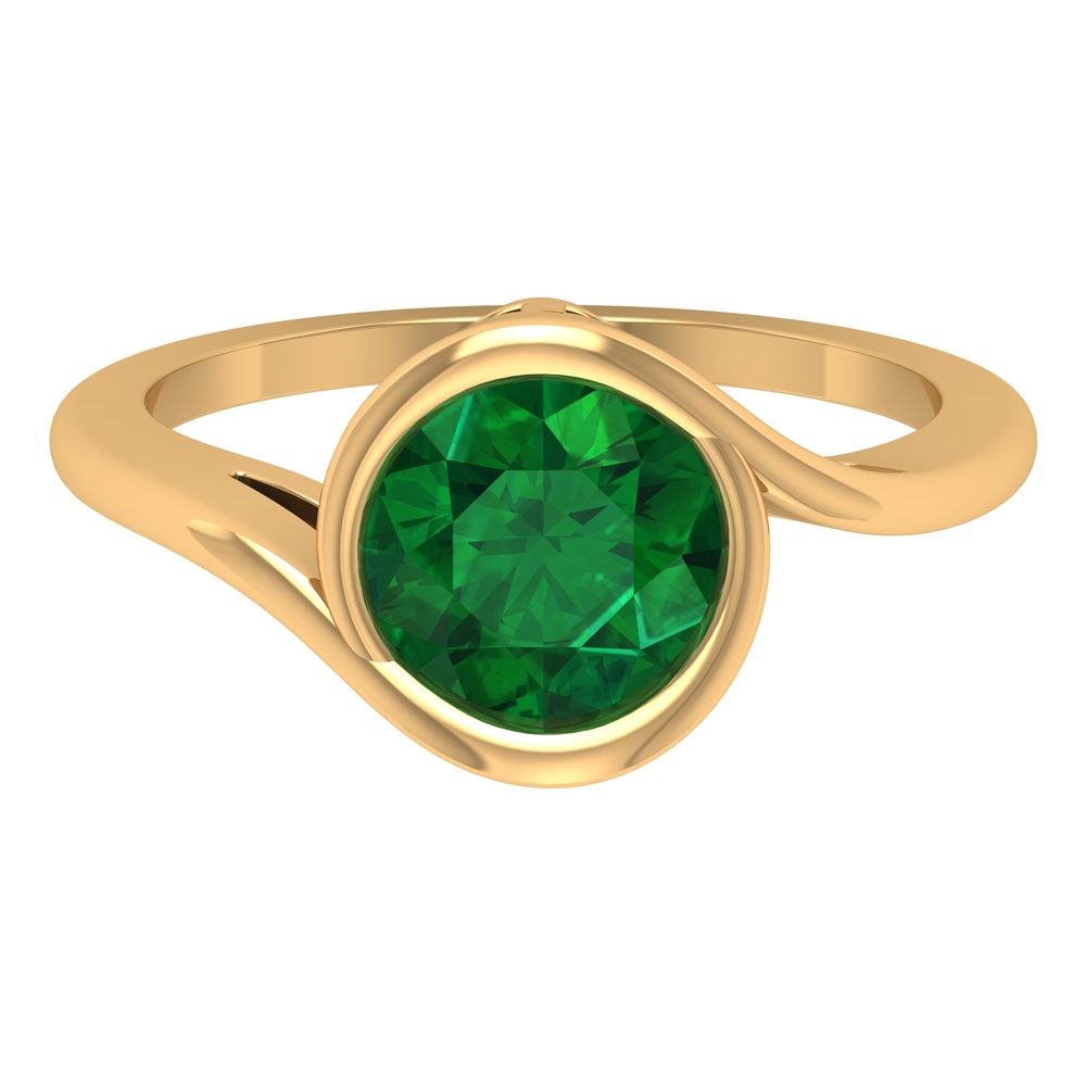 May Birthstone 8 MM Round Cut Emerald Solitaire Ring in Bezel Setting