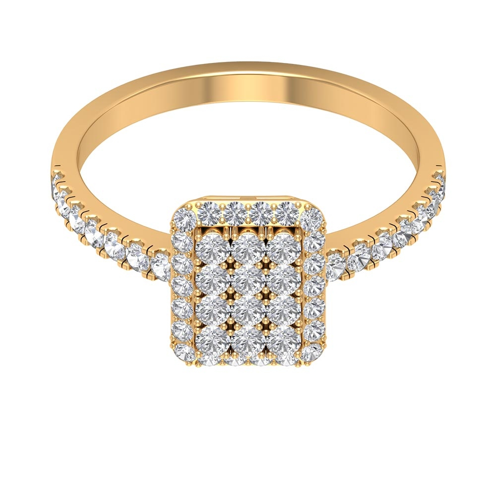 3/4 CT Diamond Cluster Anniversary Ring with Accent