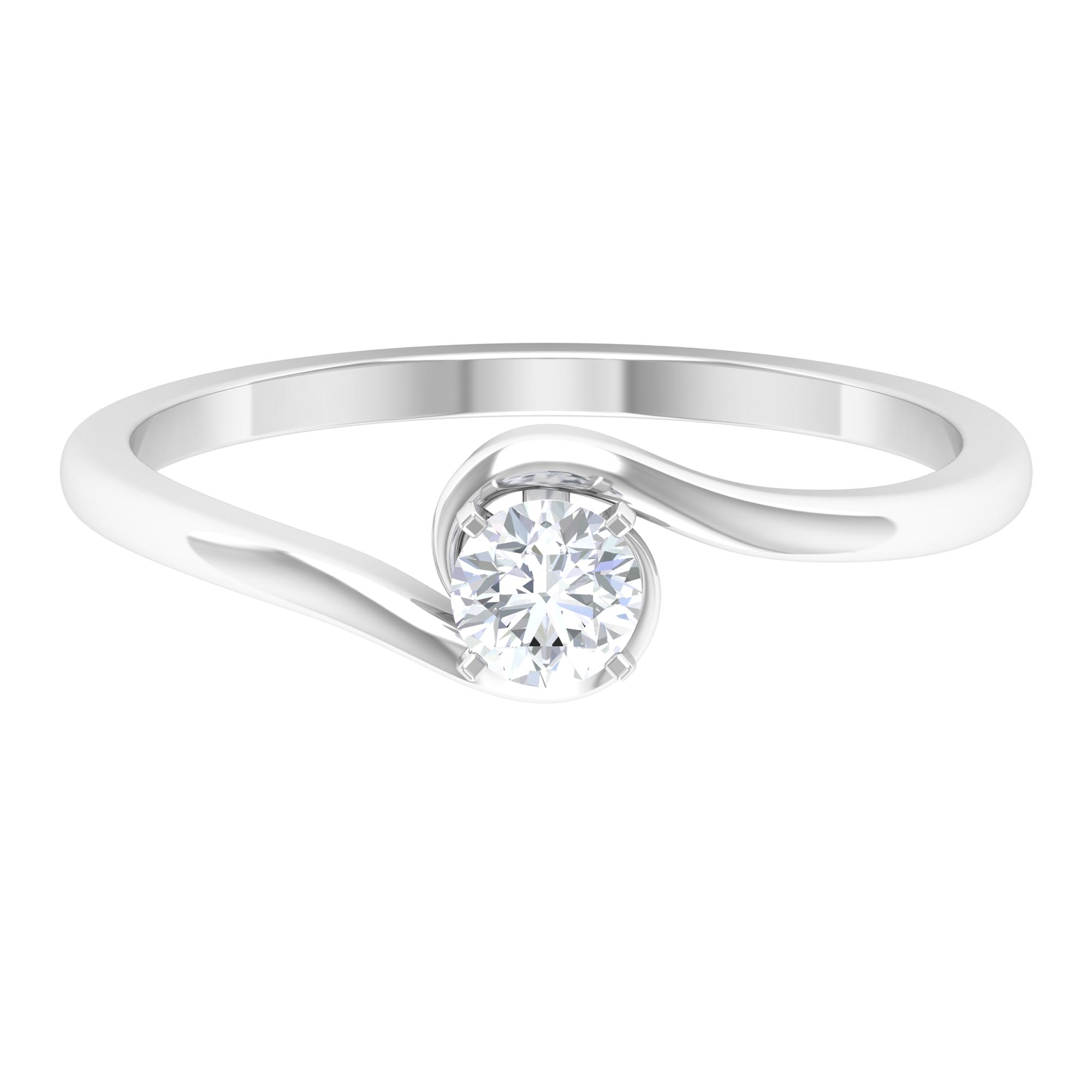 4 MM Round Cut Diamond Solitaire Ring in Peg Head Setting with Bypass Shank