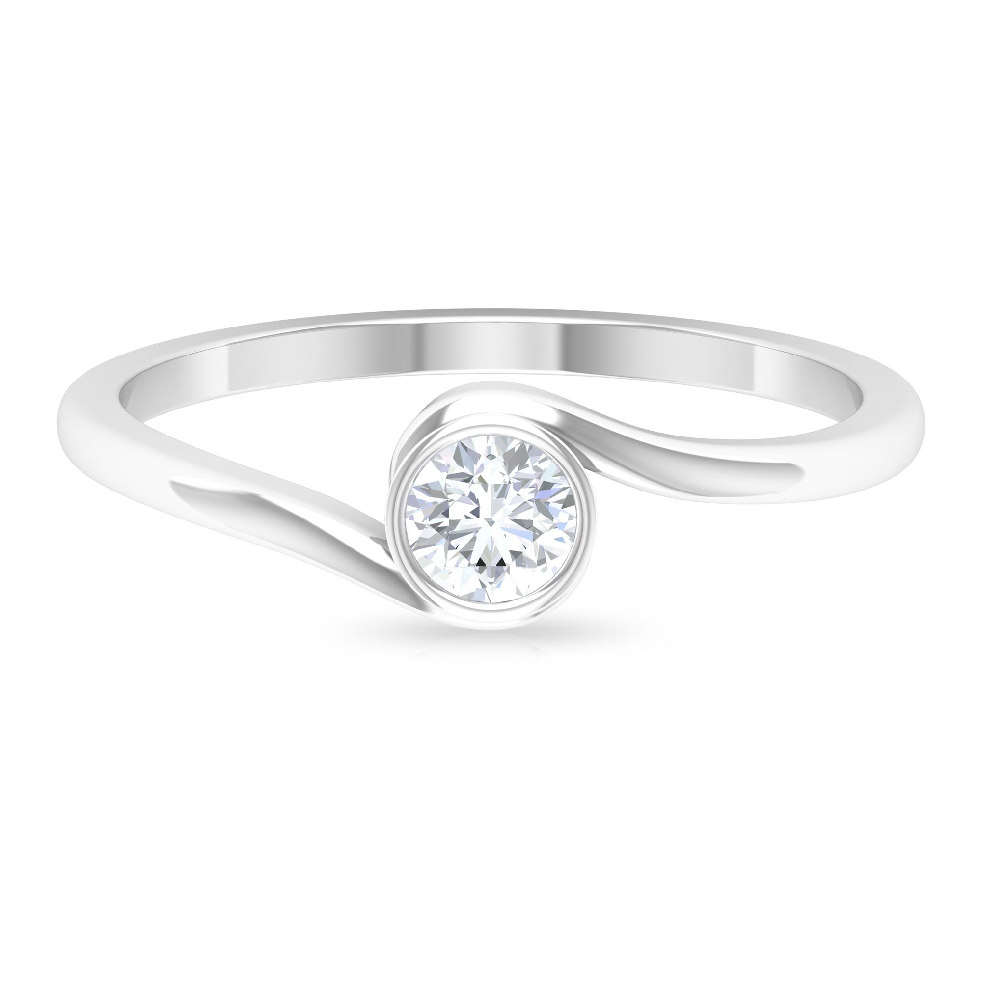 4 MM Round Cut Diamond Solitaire Ring in Bezel Setting with Bypass Shank