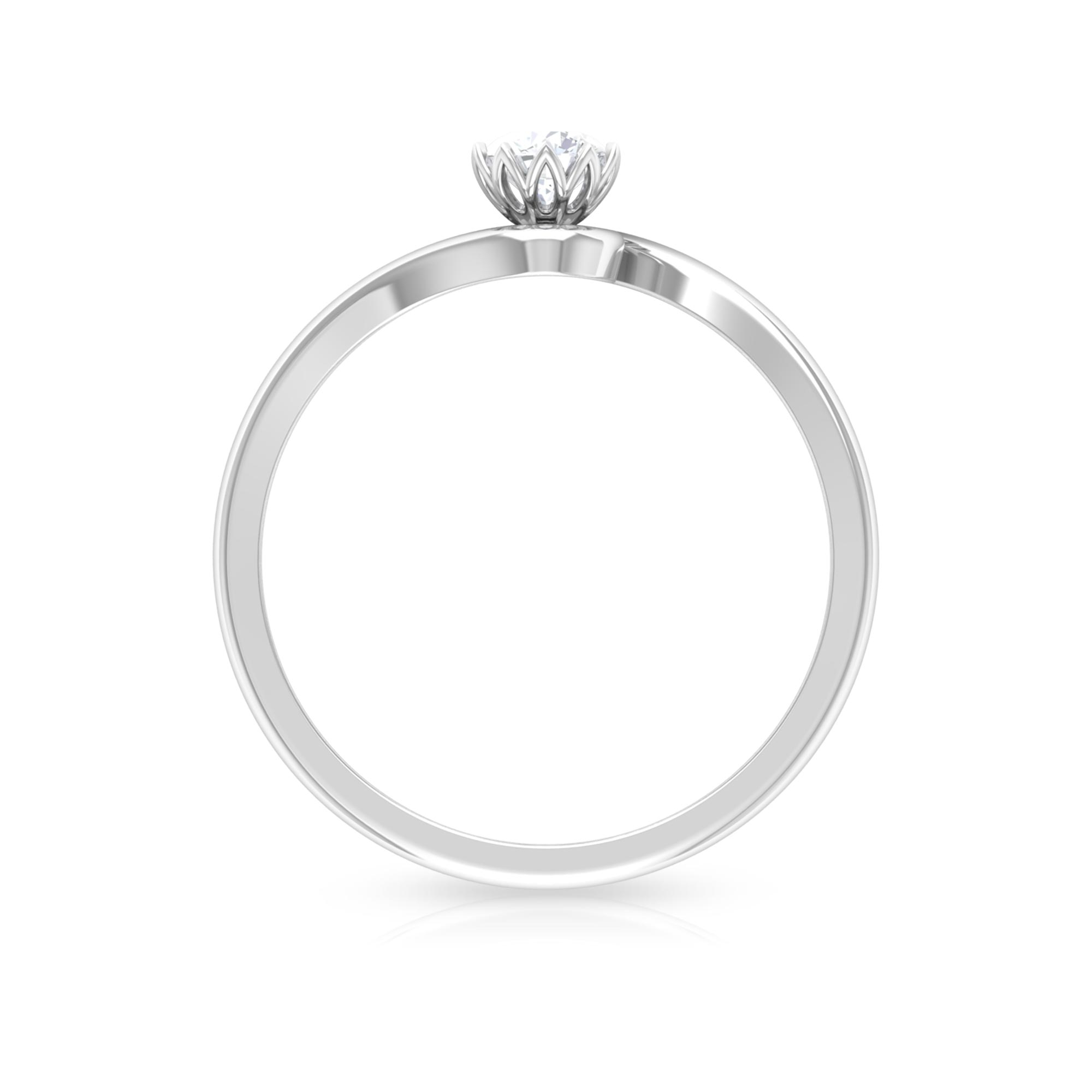 4 MM Round Cut Diamond Solitaire Ring in Lotus Basket Setting with Bypass Shank