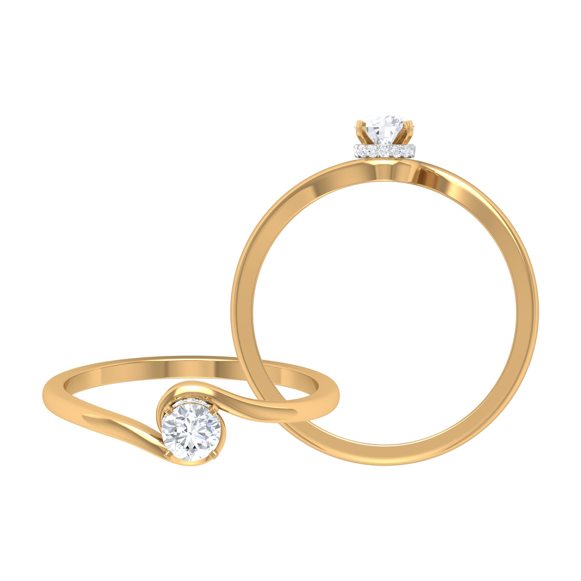 4 MM Round Cut Diamond Solitaire Ring with Hidden Halo and Bypass Shank