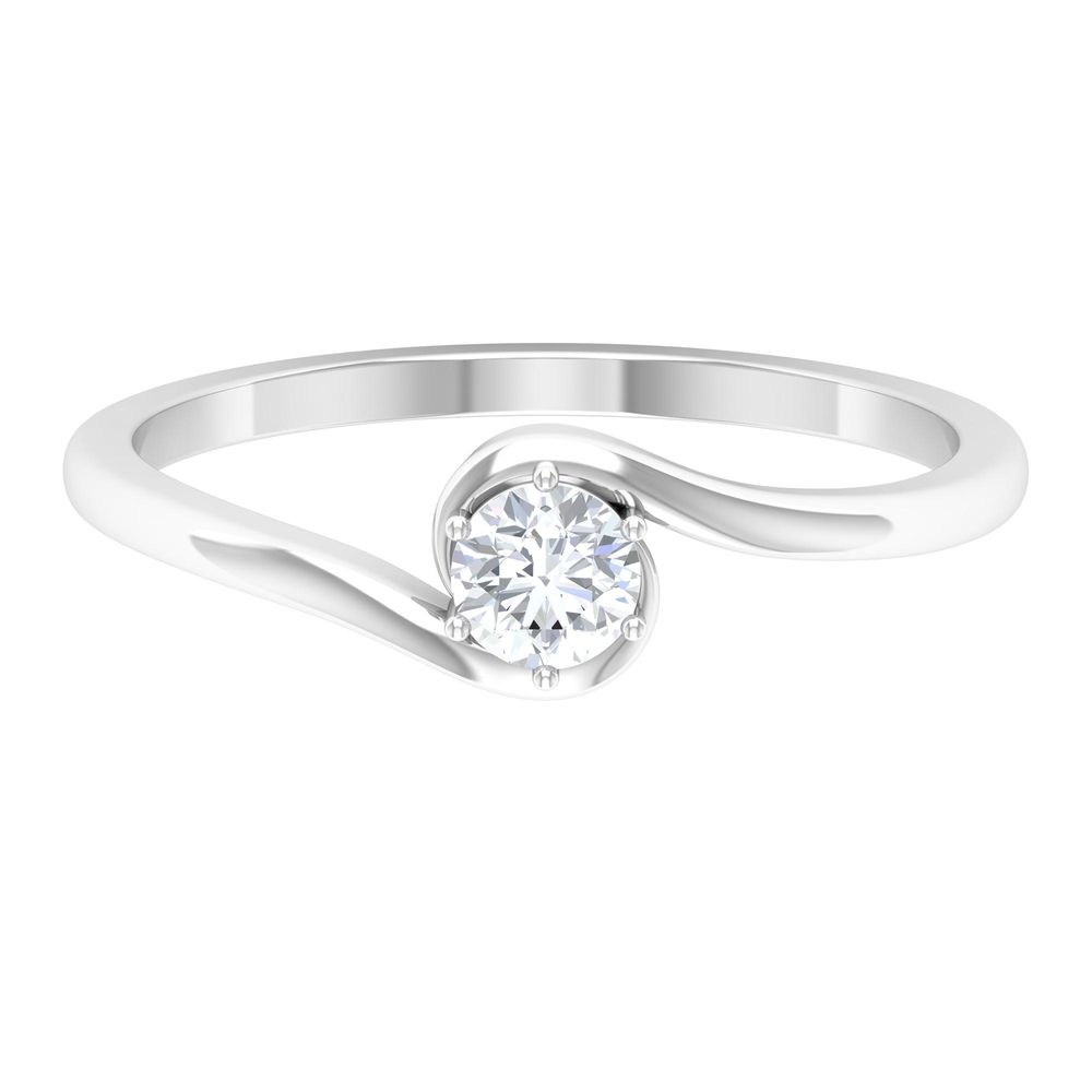 4 MM Round Cut Diamond Solitaire Ring in 6 Prong Setting with Bypass Shank