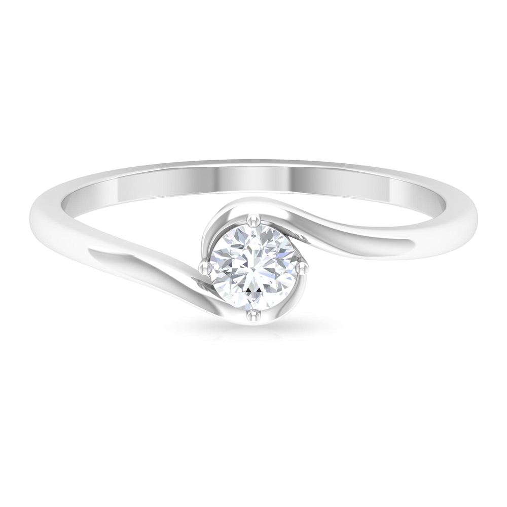 4 MM Round Cut Diamond Solitaire Ring in 4 Prong Diagonal Setting with Bypass Shank