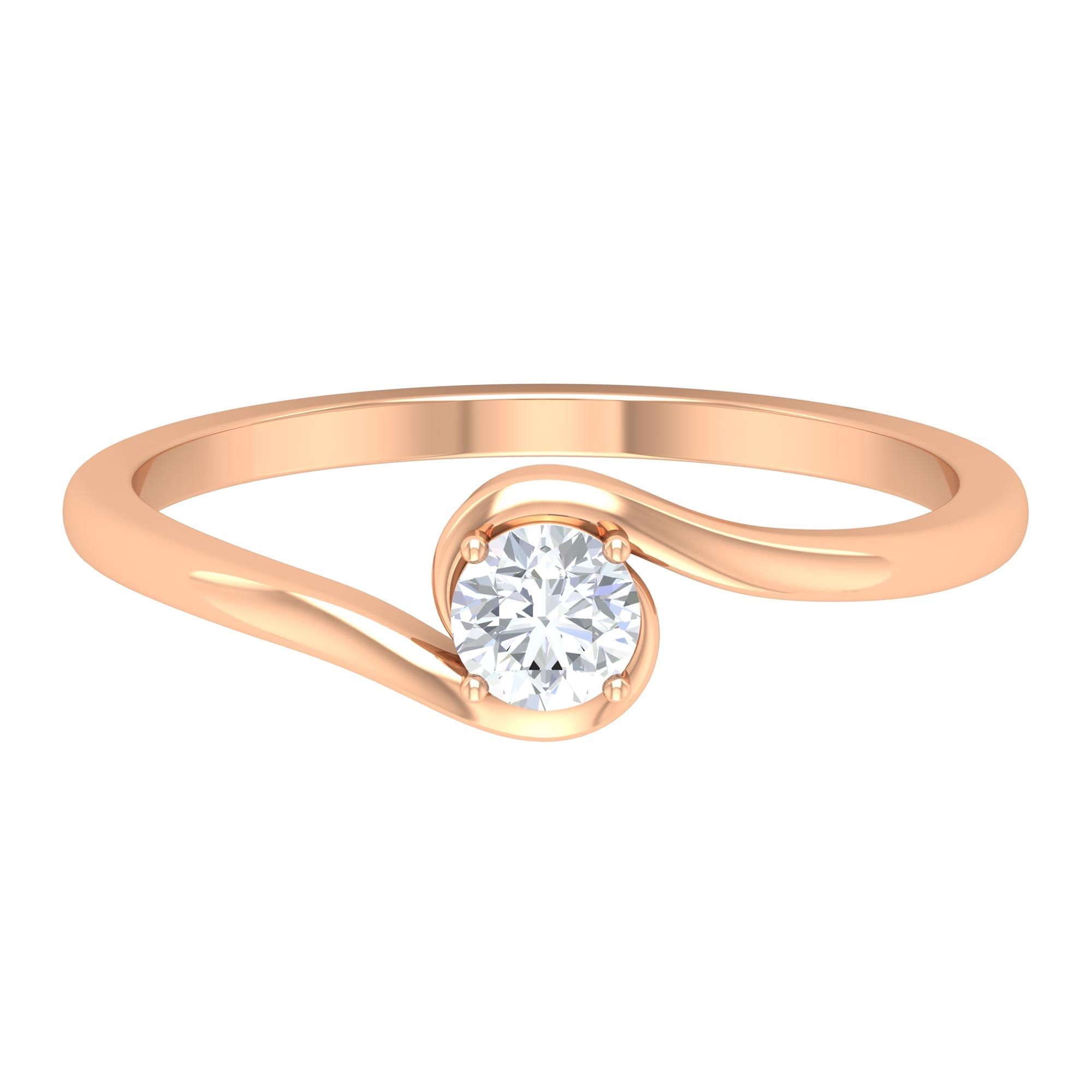 4 MM Round Cut Diamond Solitaire Ring in 4 Prong Setting with Bypass Shank