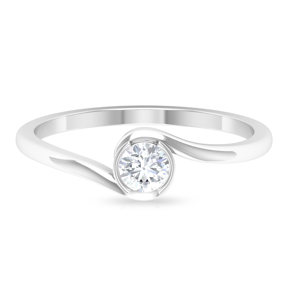 4 MM Round Cut Diamond Solitaire Ring in Half Bezel Setting with Bypass Shank