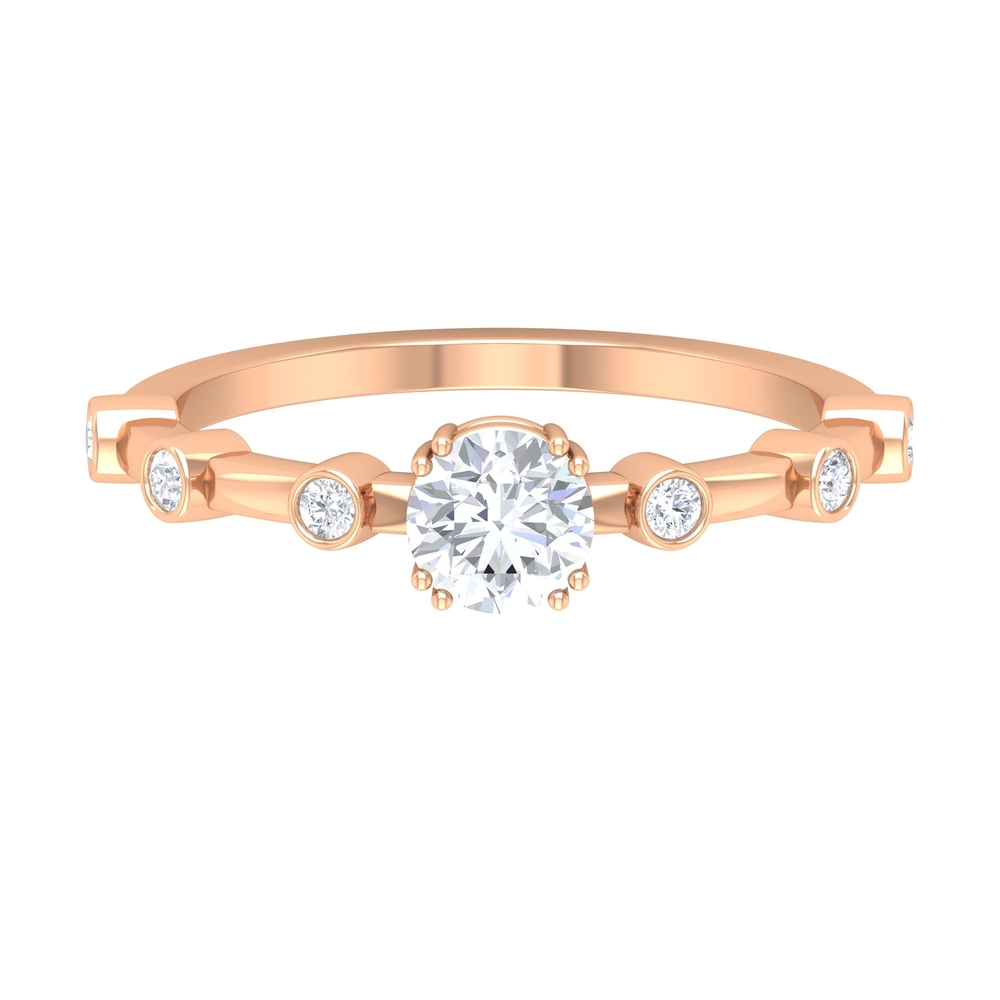 3/4 CT Round Cut Diamond Solitaire Ring in Double Prong Setting with Spaced Set Side Stones