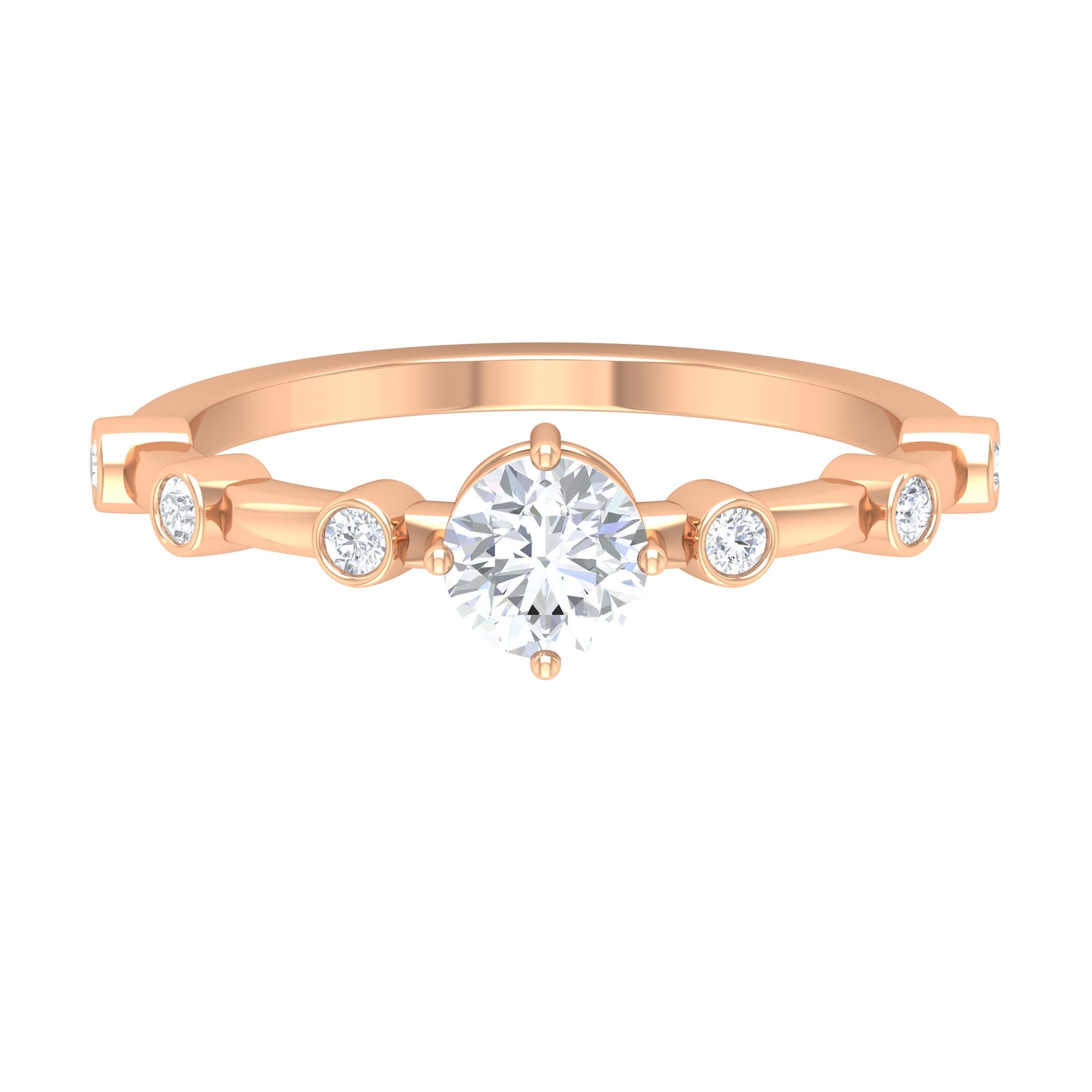 3/4 CT Round Cut Diamond Solitaire Ring in 4 Prong Diagonal Setting with Spaced Set Side Stones