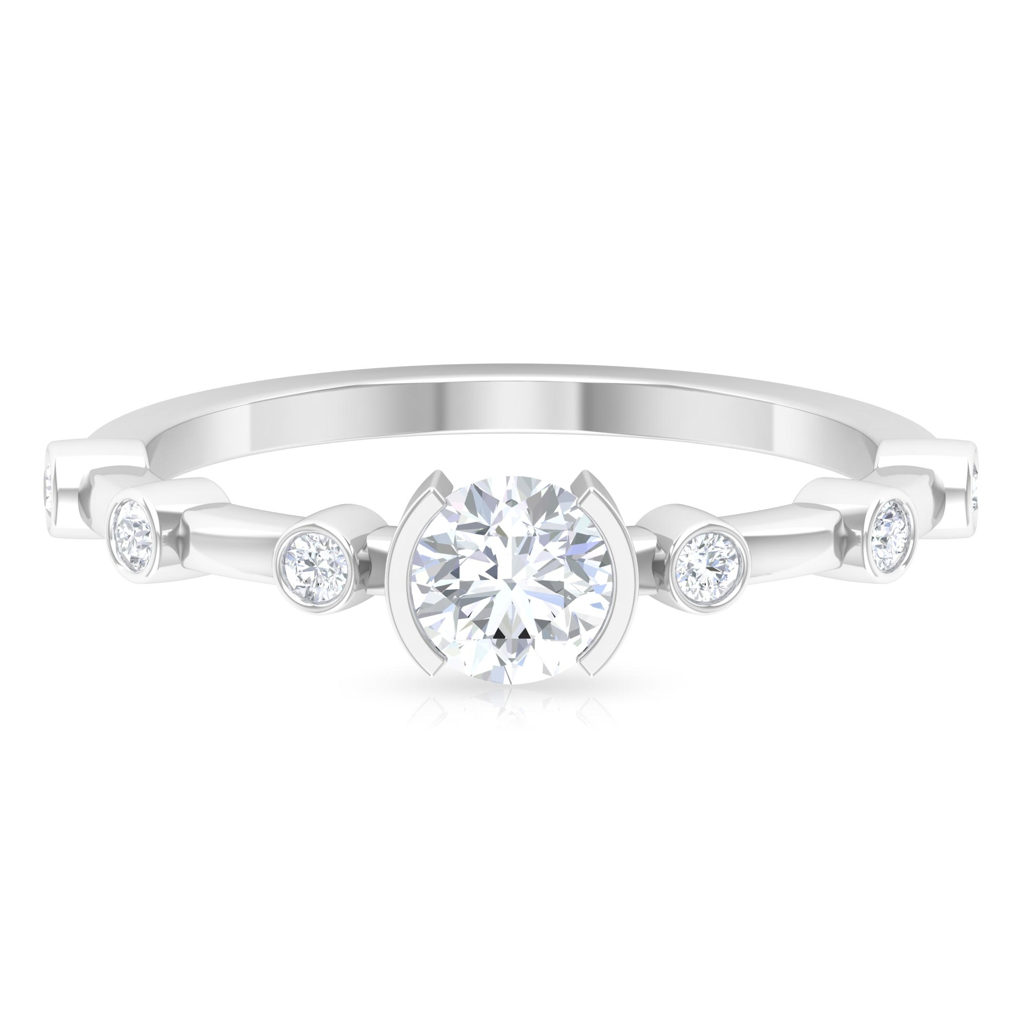 3/4 CT Round Cut Diamond Solitaire Ring in Half Bezel Setting with Spaced Set Side Stones