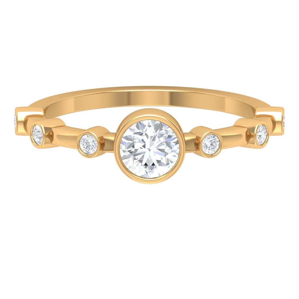 3/4 CT Round Cut Diamond Solitaire Ring in Bezel Setting with Spaced Set Side Stones