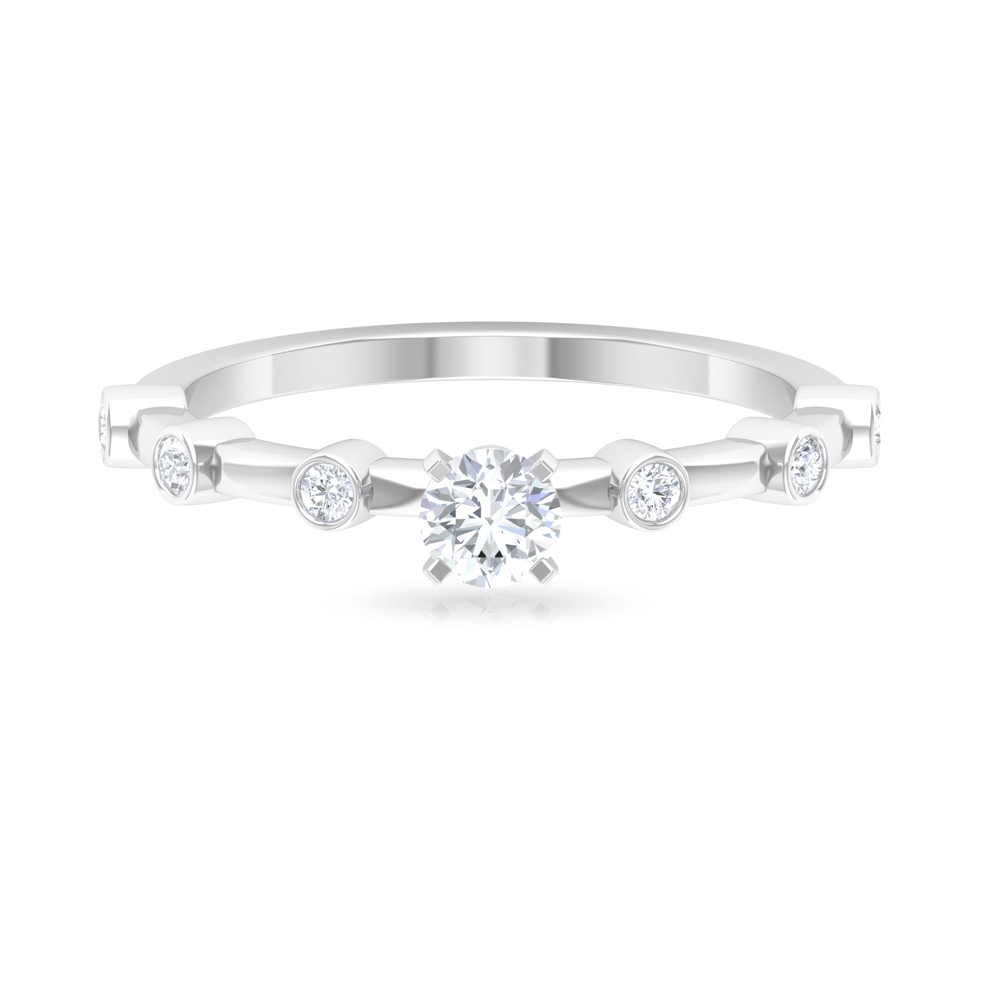 1/2 CT Round Cut Diamond Solitaire Ring in Peg Head Setting with Spaced Set Side Stones