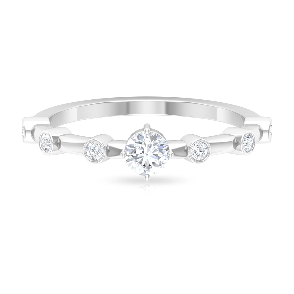 1/2 CT Round Cut Diamond Solitaire Ring in 4 Prong Diagonal Setting with Spaced Set Side Stones