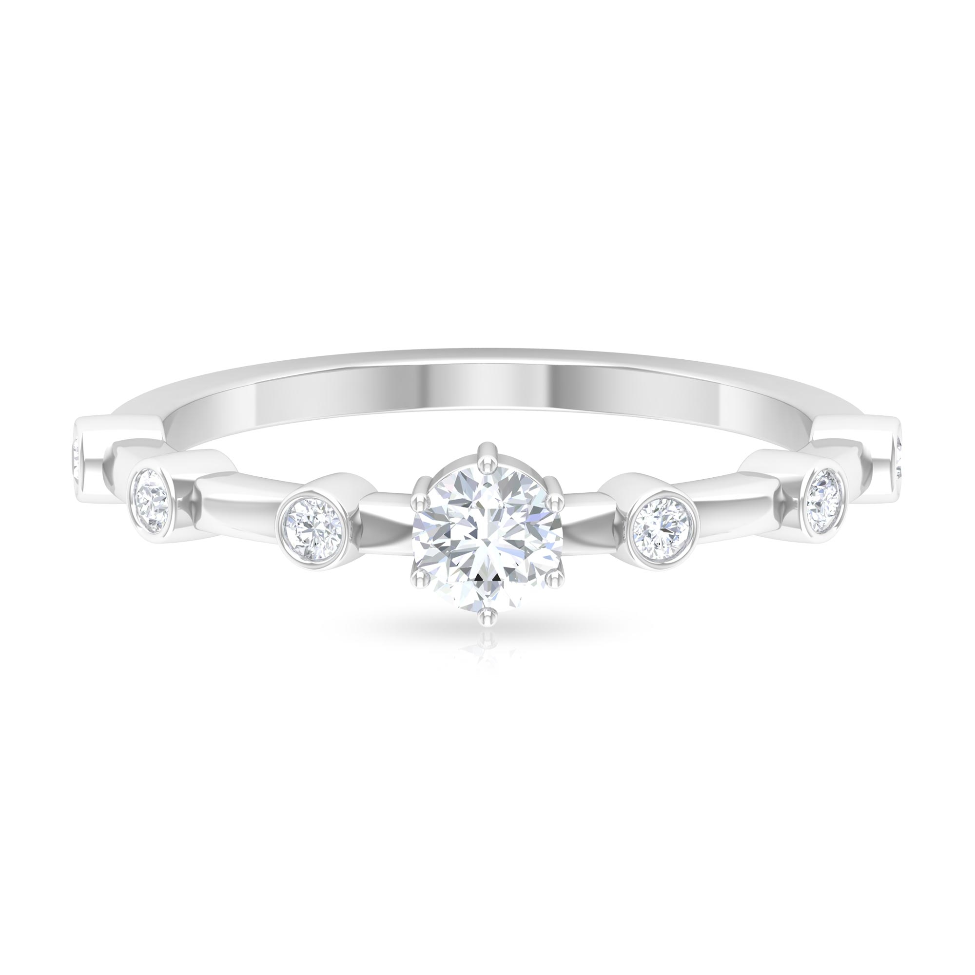 1/2 CT Round Cut Diamond Solitaire Ring in 6 Prong Setting with Spaced Set Side Stones
