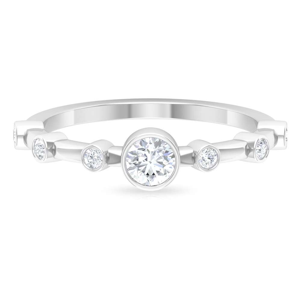 1/2 CT Round Cut Diamond Solitaire Ring in Bezel Setting with Spaced Set Side Stones