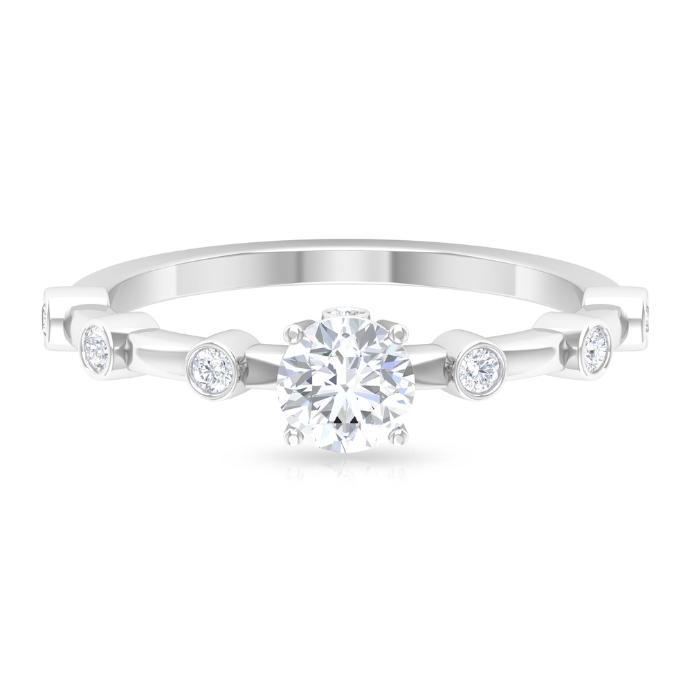 3/4 CT Round Cut Solitaire Diamond Ring in Prong Setting and Surprise Style with Spaced Set Side Stones