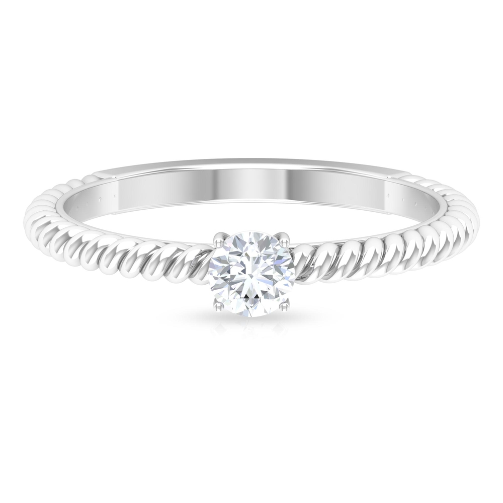 4 MM Round Cut Diamond Solitaire Ring in Prong Setting with Twisted Rope Details