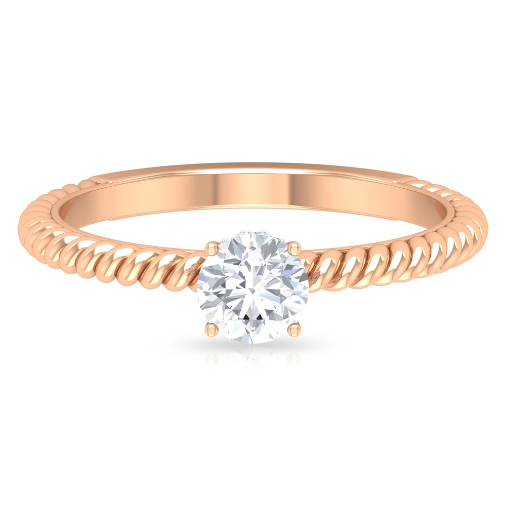 1/2 CT Round Cut Diamond Solitaire Ring with Hidden Halo and Twisted Rope Details