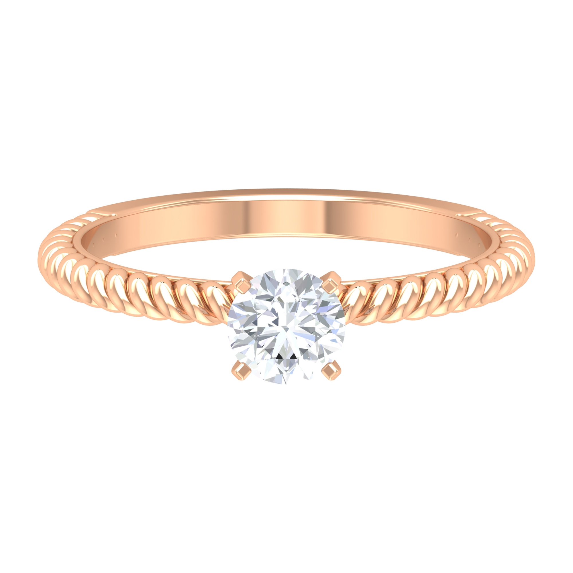 5 MM Round Cut Diamond Solitaire Ring in Peg Head Setting with Twisted Rope Details