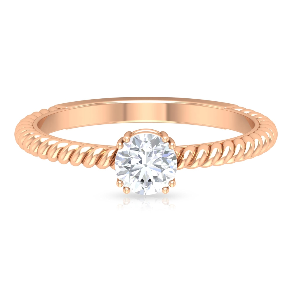 5 MM Round Cut Diamond Solitaire Ring in Double Prong Setting with Twisted Rope Details