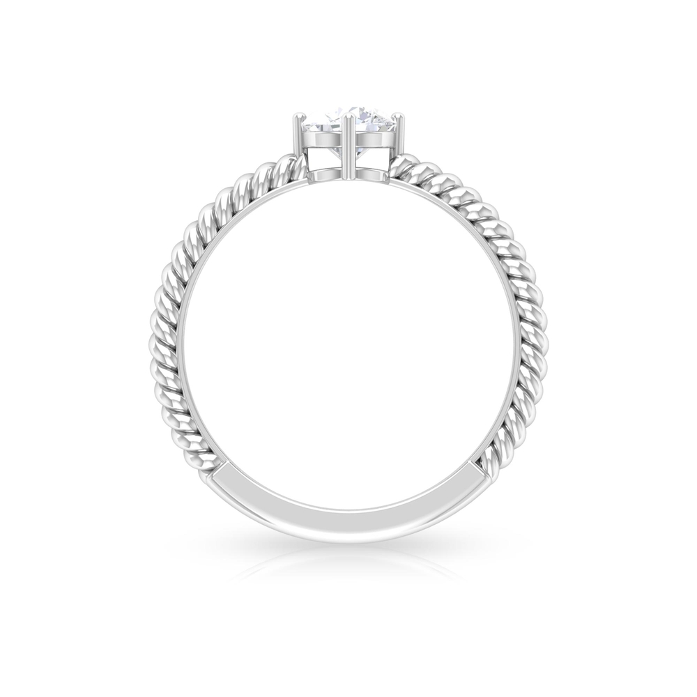 5 MM Round Cut Diamond Solitaire Ring in 4 Prong Diagonal Setting with Twisted Rope Details