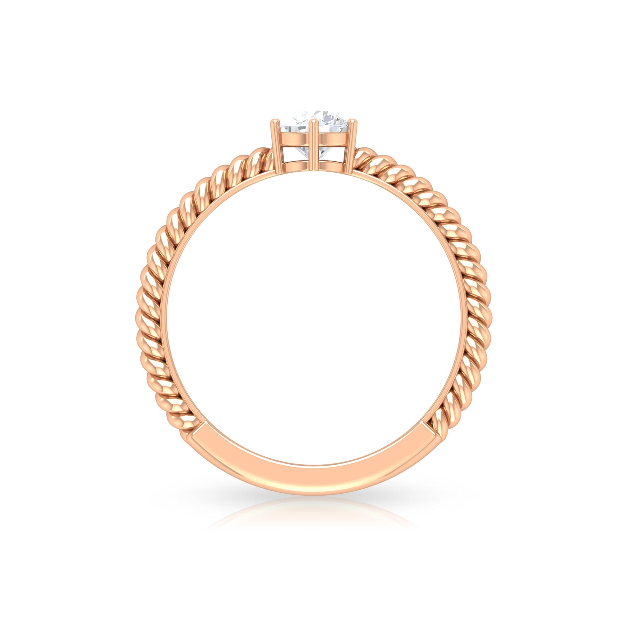 5 MM Round Cut Diamond Solitaire Ring in 6 Prong Setting with Twisted Rope Details