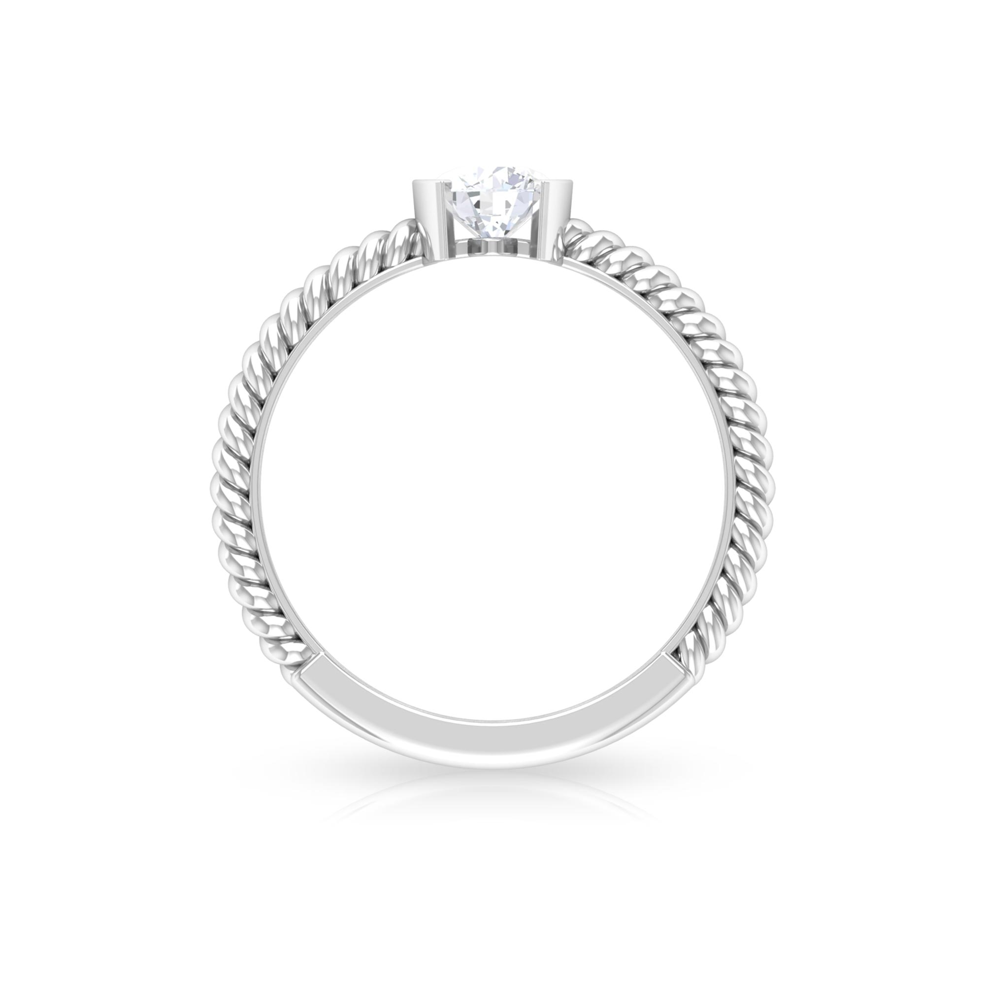 5 MM Round Cut Diamond Solitaire Ring in Half Bezel Setting with Twisted Rope Details
