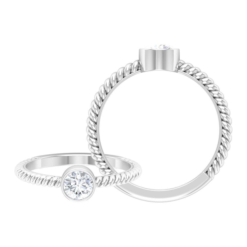 5 MM Round Cut Diamond Solitaire Ring in Bezel Setting with Twisted Rope Details