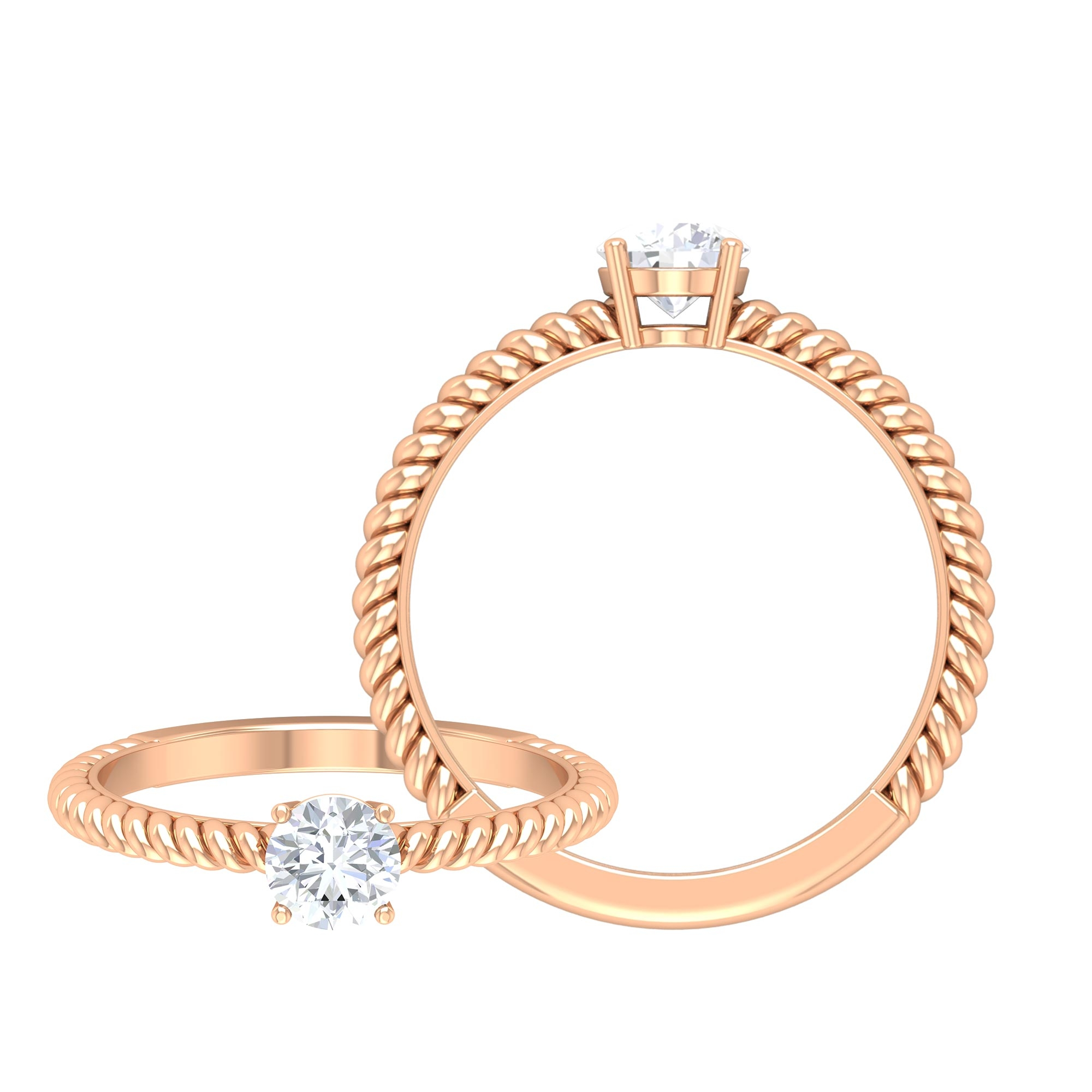 5 MM Round Cut Diamond Solitaire Ring in 4 Prong Setting with Twisted Rope Details