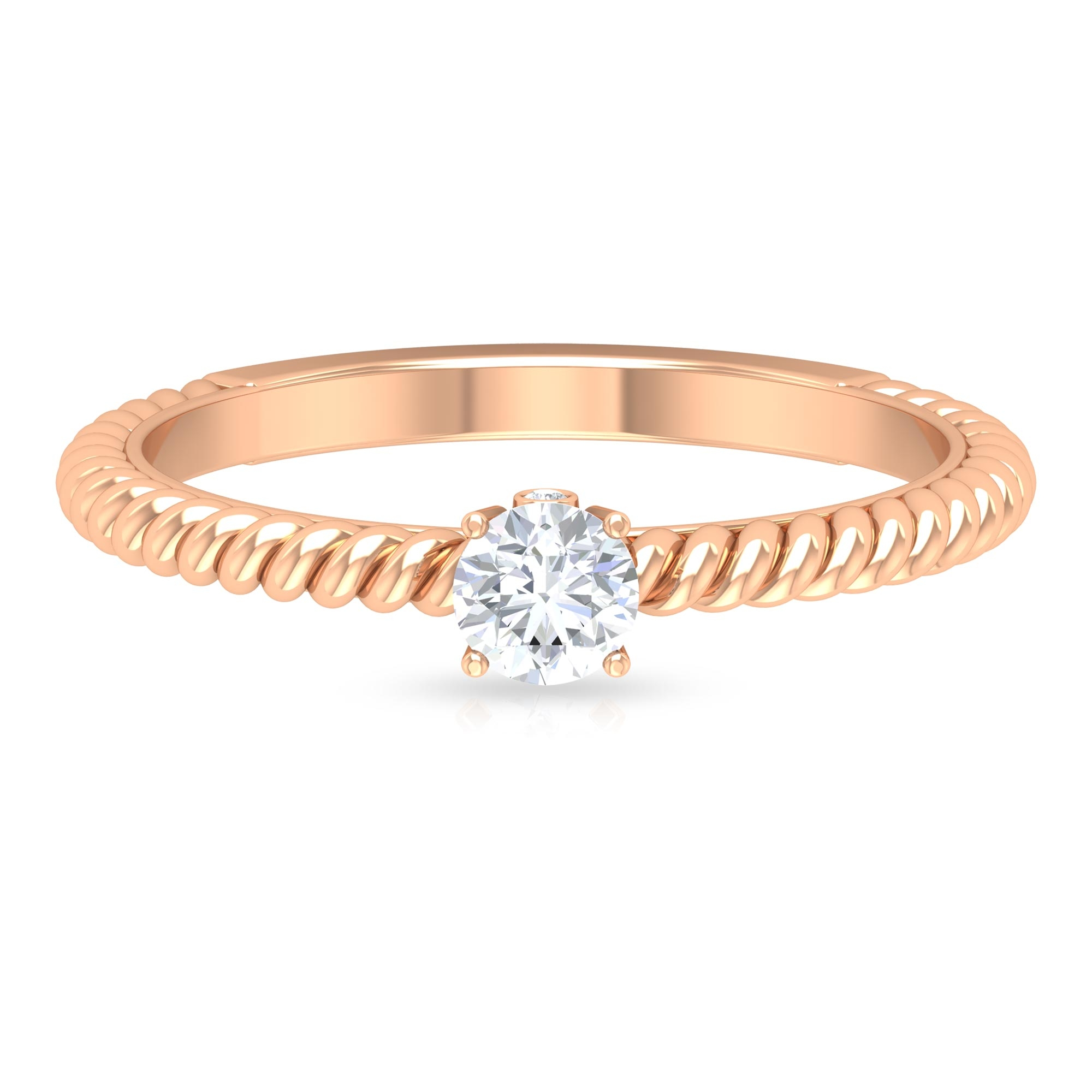 1/2 CT Round Cut Diamond Solitaire Ring with Surprise Diamond and Twisted Rope Details