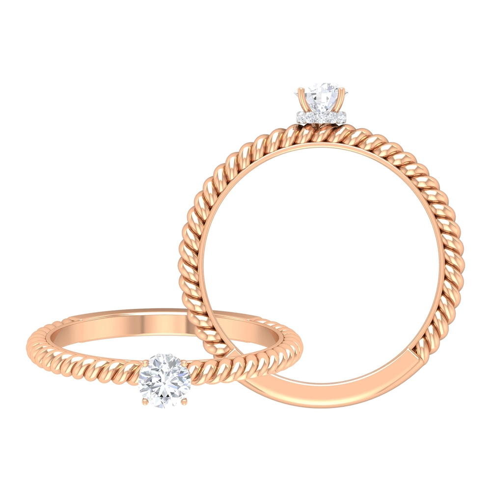 1/2 CT Round Diamond Solitaire Ring with Hidden Halo and Twisted Rope Details