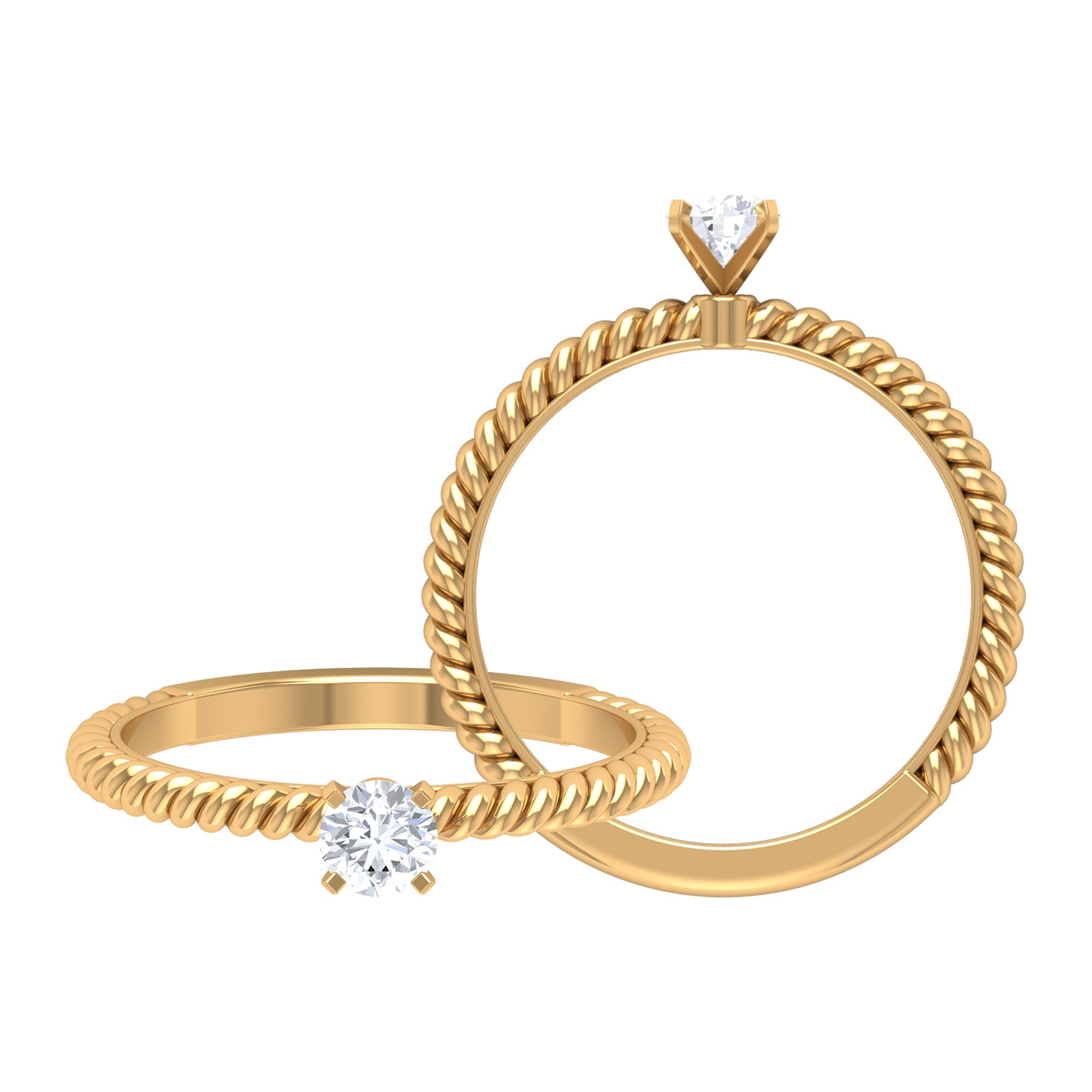 4 MM Round Cut Diamond Solitaire Ring in Peg Head Setting with Twisted Rope Details
