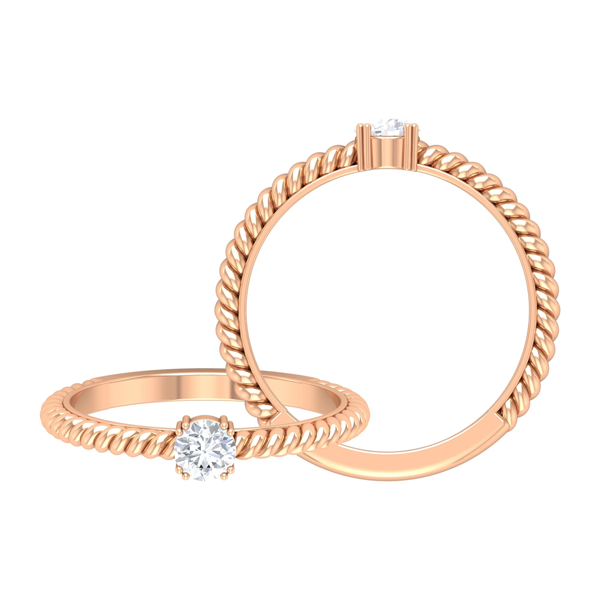 4 MM Round Cut Diamond Solitaire Ring in Double Prong Setting with Twisted Rope Details