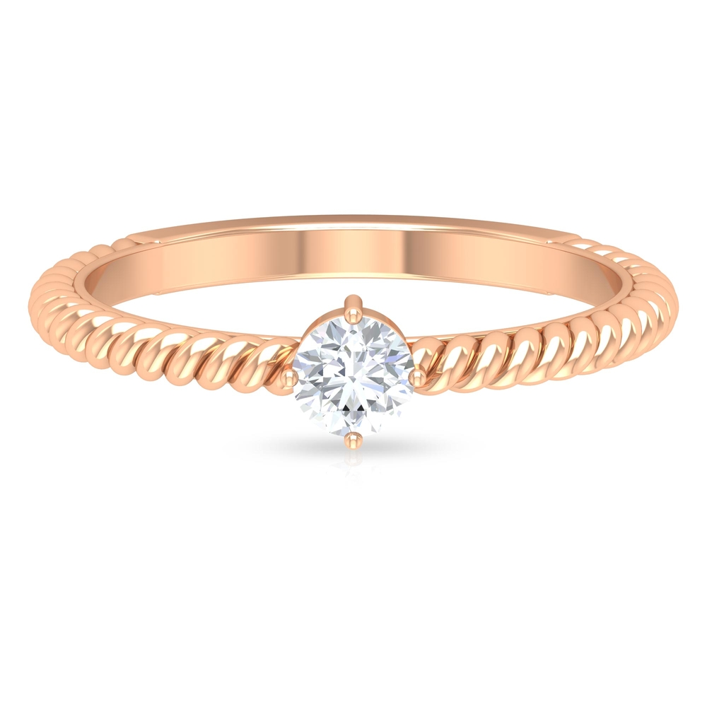 4 MM Round Cut Diamond Solitaire Ring in 4 Prong Diagonal Setting with Twisted Rope Details