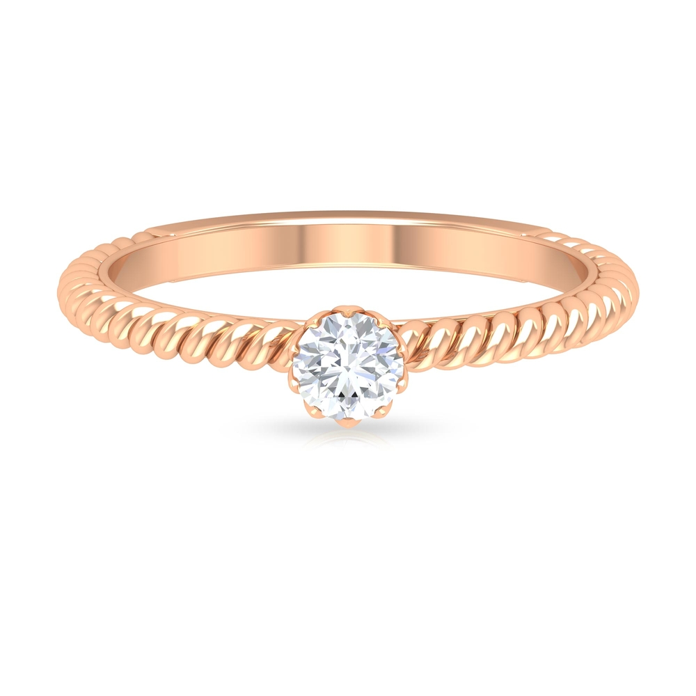 4 MM Round Cut Diamond Solitaire Ring in Lotus Basket Setting with Twisted Rope Details