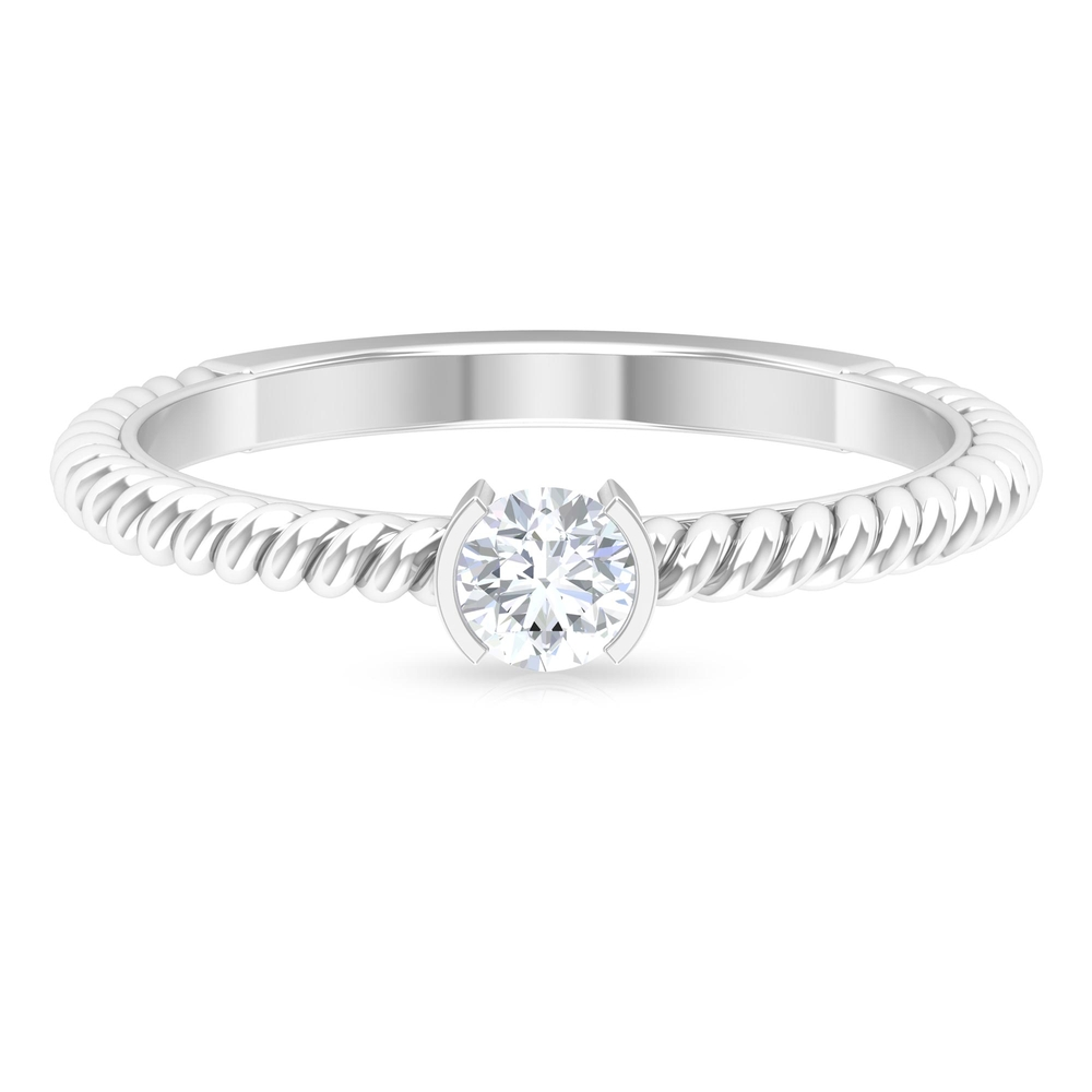 4 MM Round Cut Diamond Solitaire Ring in Half Bezel Setting with Twisted Rope Details