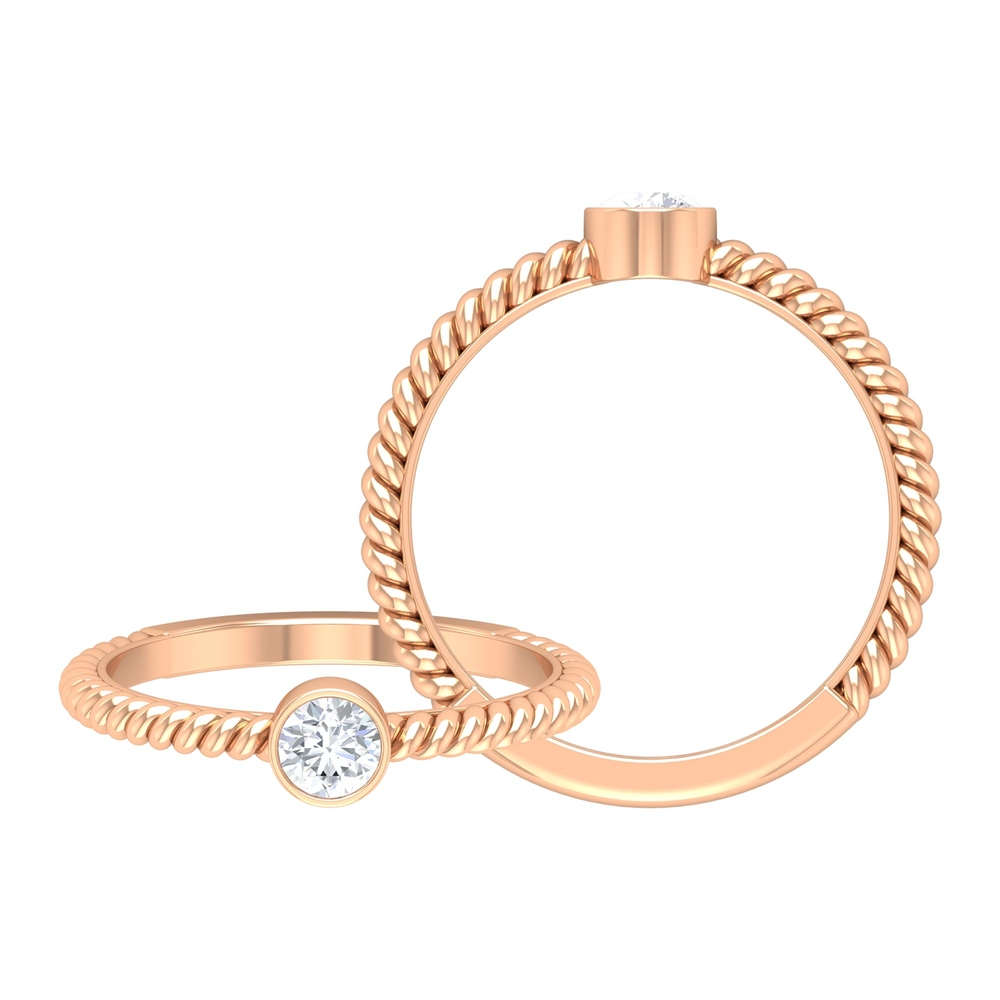 4 MM Round Cut Diamond Solitaire Ring in Bezel Setting with Twisted Rope Details