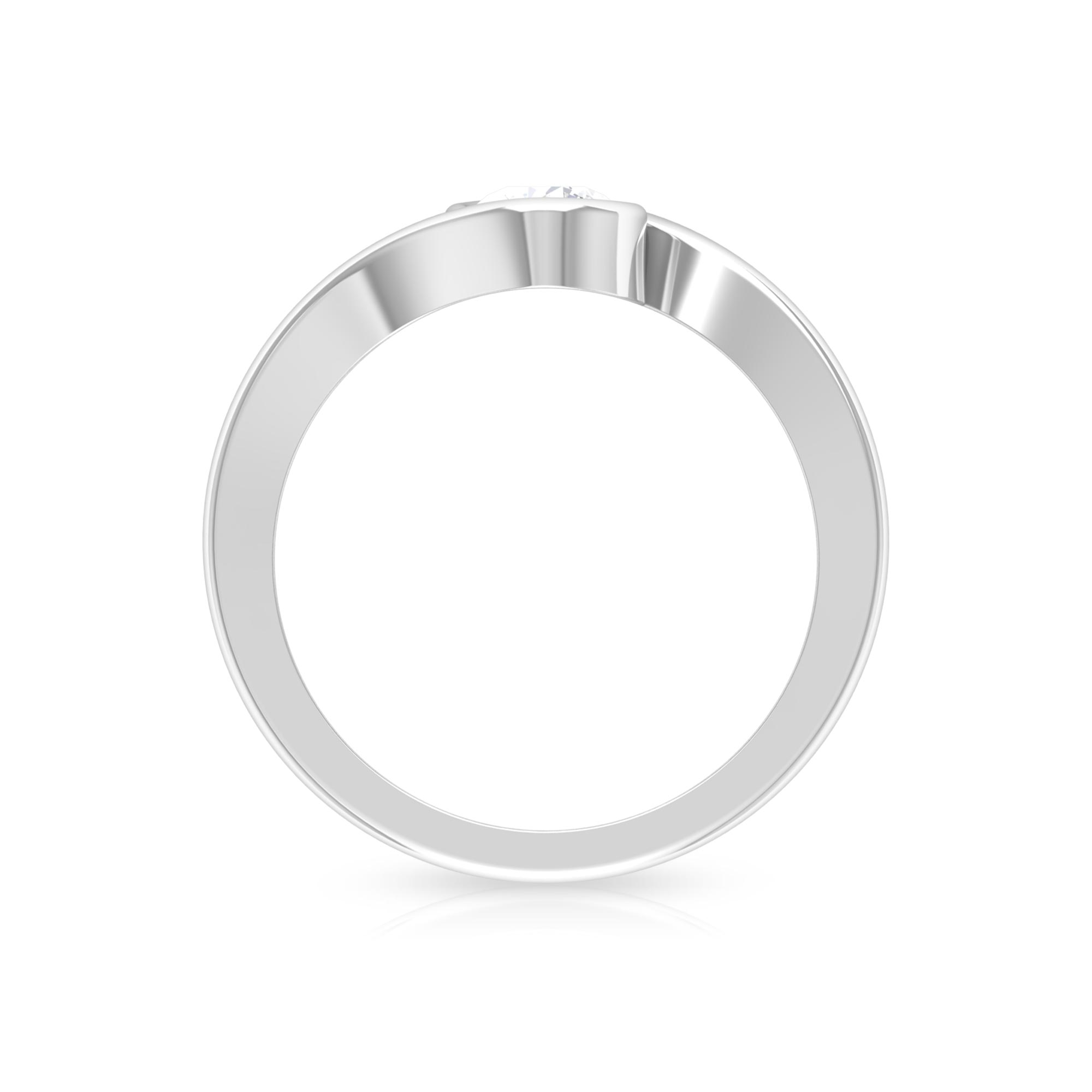 5 MM Round Cut Diamond Solitaire Ring in Bypass Setting