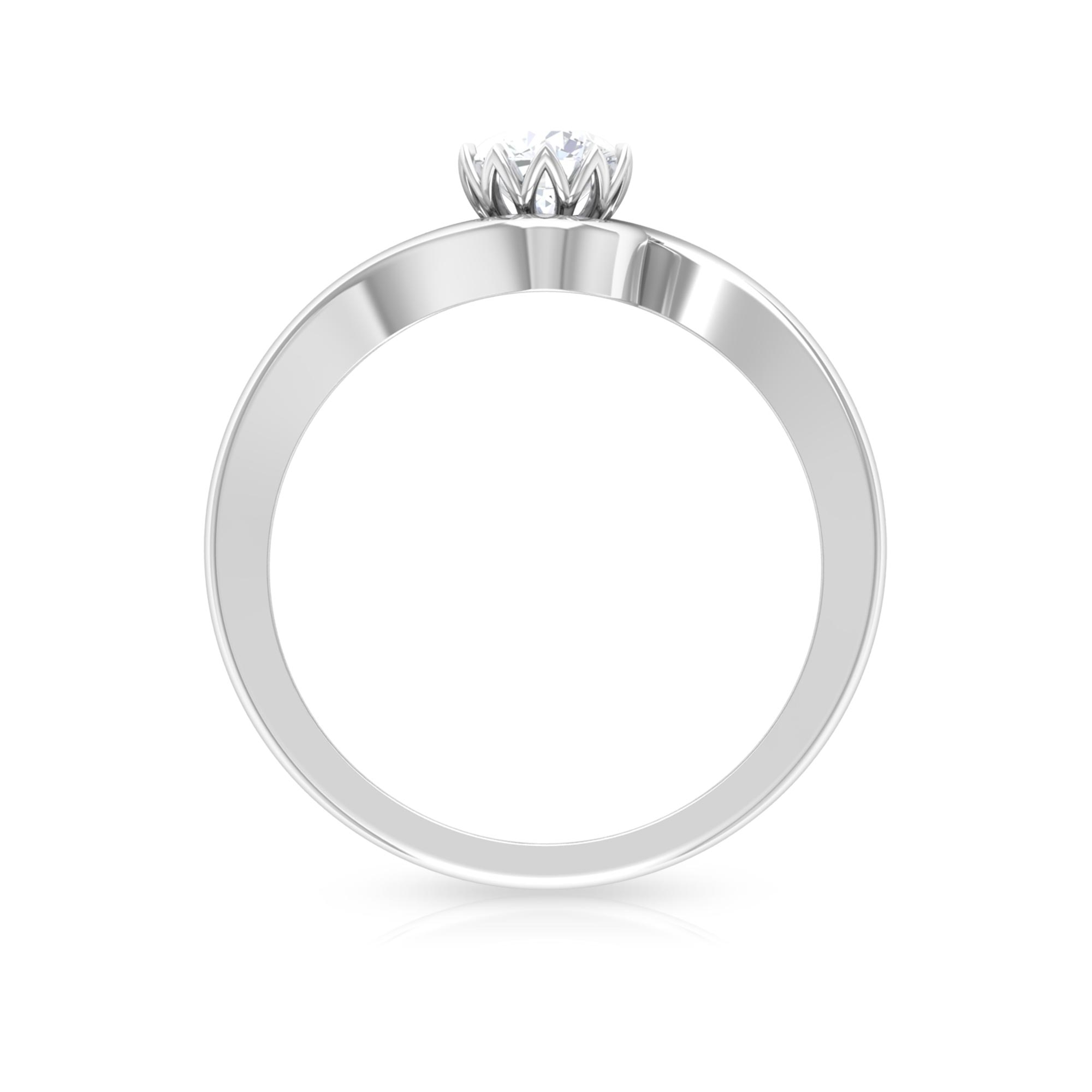 1/2 CT Diamond Solitaire Bypass Ring in Lotus Basket Setting