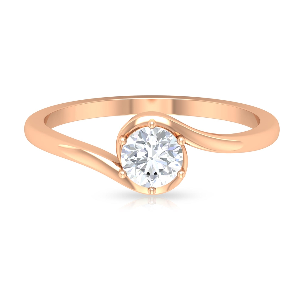 1/2 CT Diamond Solitaire Bypass Ring in 6 Prong Setting