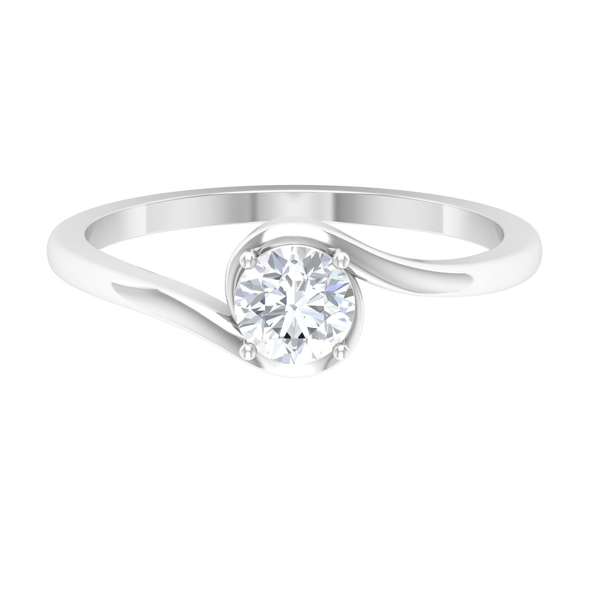 1/2 CT Diamond Solitaire Bypass Ring in 4 Prong Setting