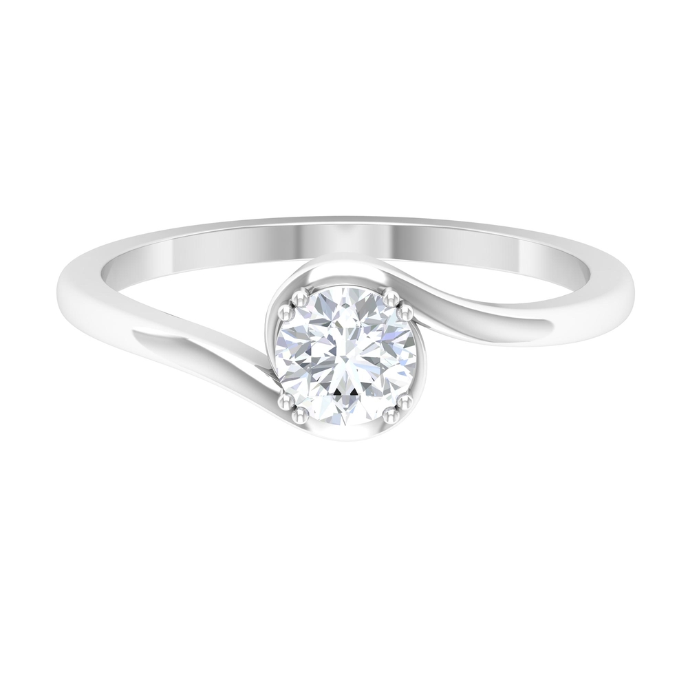 1/2 CT Diamond Solitaire Bypass Ring in Double Prong Setting
