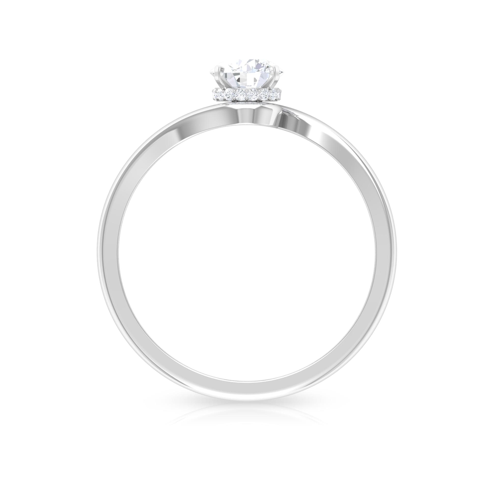 1/2 CT Diamond Solitaire Bypass Ring in Square Prong Setting