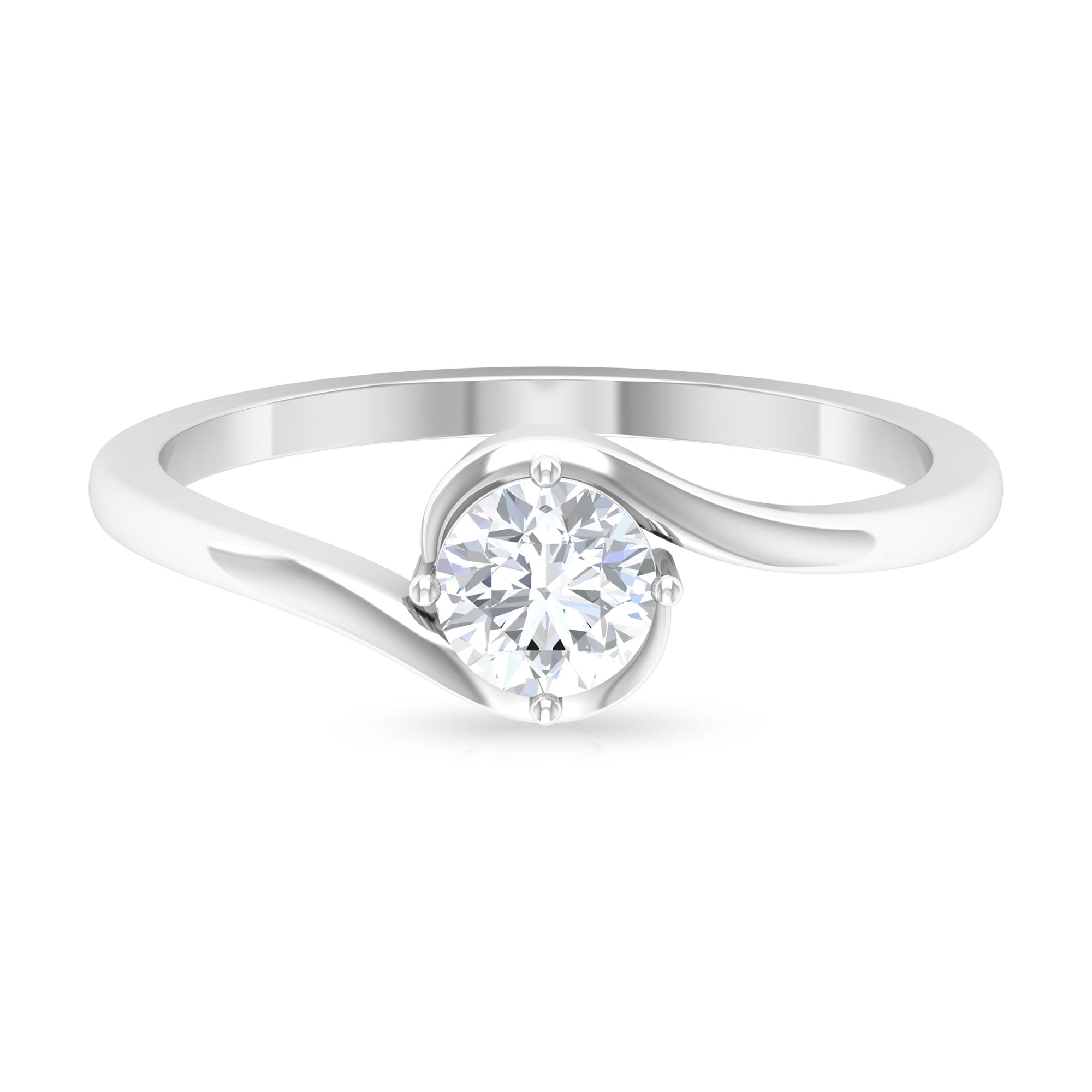 1/2 CT Solitaire Diamond Bypass Ring in Diagonal 4 Prong Setting