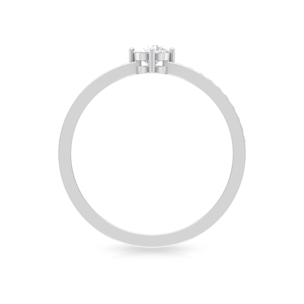 1/2 CT 4 Prong Set Diamond Solitaire Ring with Channel Set Side Stones