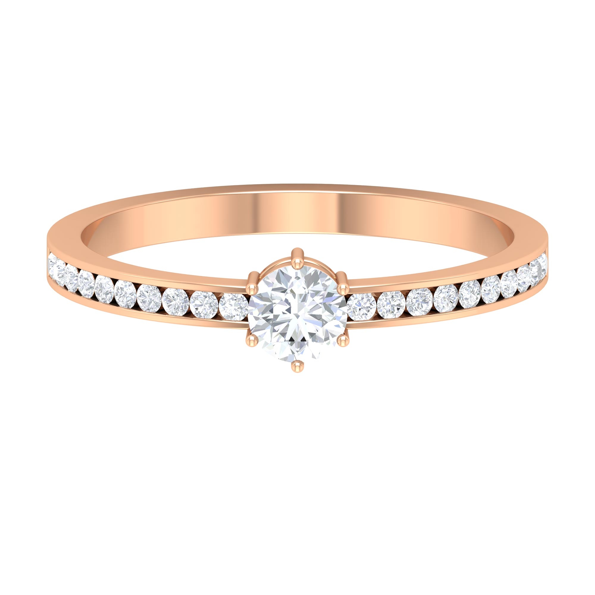 1/2 CT 6 Prong Set Diamond Solitaire Ring with Channel Set Side Stones