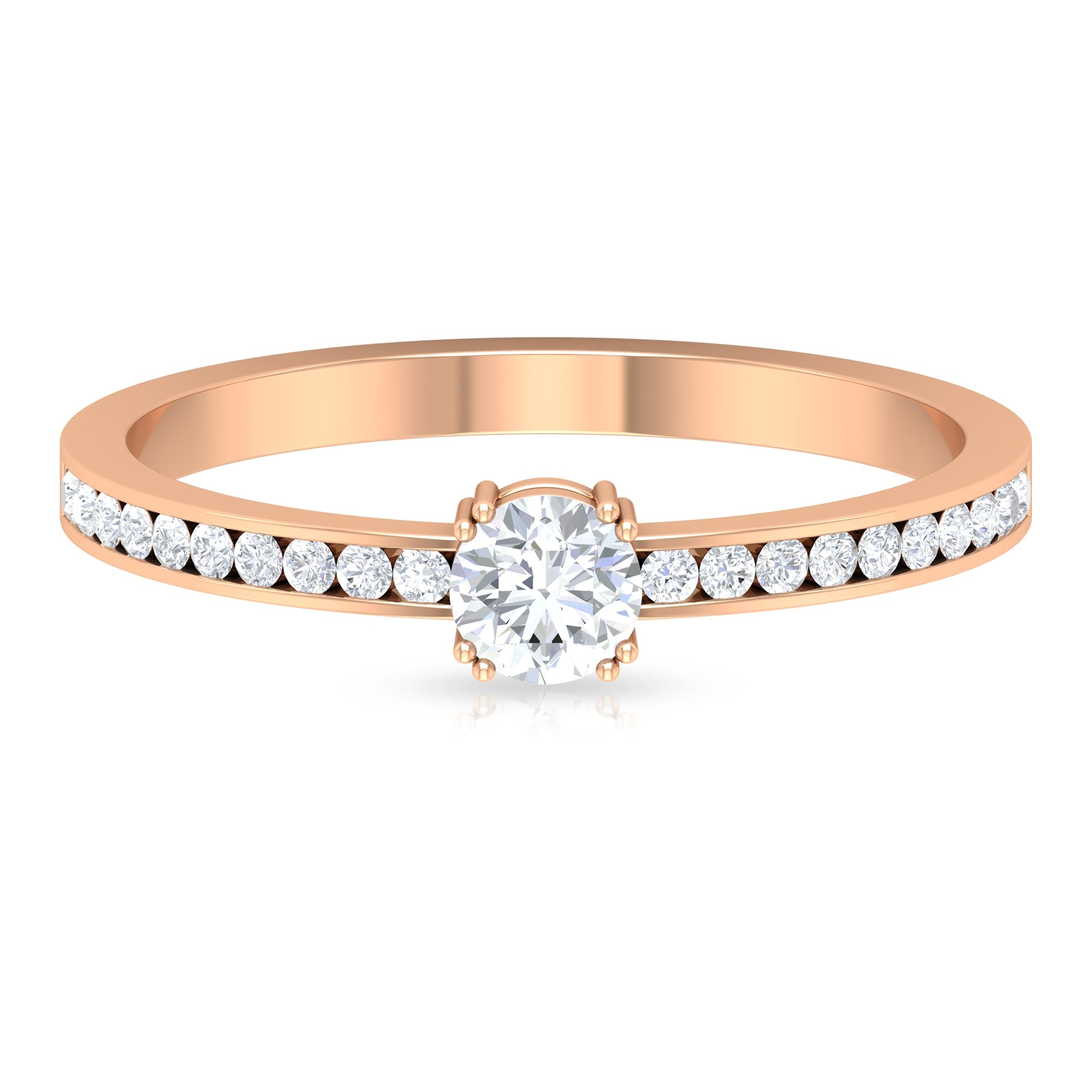 1/2 CT Double Prong Set Diamond Solitaire Ring with Channel Set Side Stones