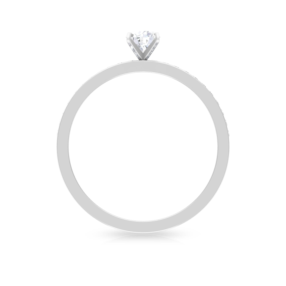 1/2 CT Peg Head Set Diamond Solitaire Ring with Channel Set Side Stones